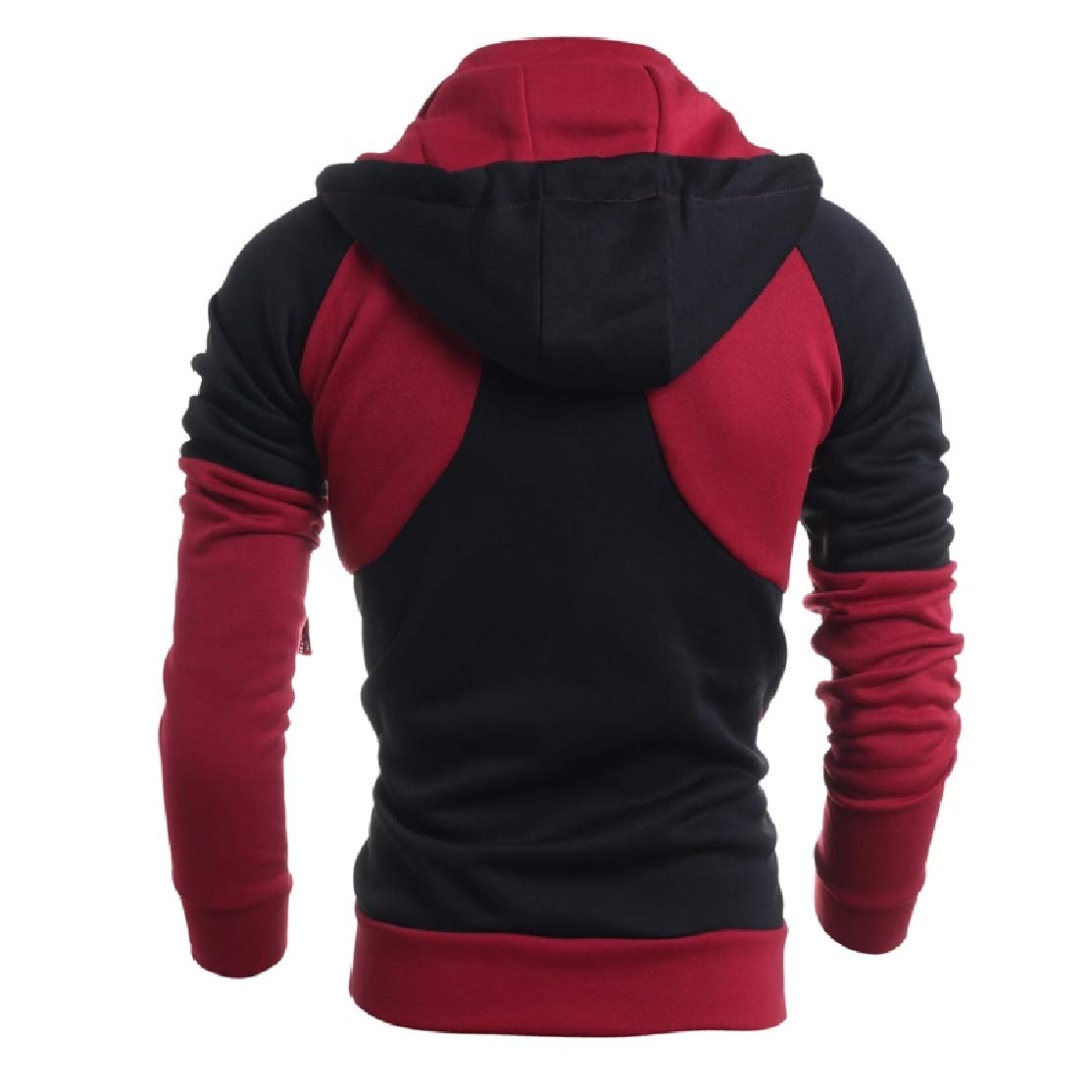 Comaba Mens Mid Long Fake Two Hooded Oversize Outwear Sweatshirt