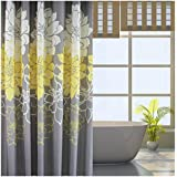 Eforgift Floral Printed Fabric Shower Curtain Polyester Waterproof/ No More Mildews Bathroom Curtains withHooks Yellow/Gray /White (72-inch By 78-inch)
