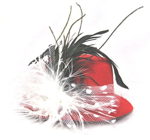 Burlesque Mini Hat Fascinator Party Hat - Red by CCW Distributors