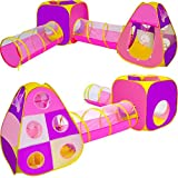 Playz 4pc Children's Playhouse Popup Tents, Tunnels, and Basketball Hoop for Boys, Girls, Babies, Kids and Toddlers with Zipper Storage Case for Indoor & Outdoor Use (Yellow, Pink, Purple)