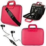 """Pink SumacLife Cady Bag Textured Hard Case w/ Removable Shoulders Strap for Asus eee Pad Slider SL101 Android 10.1"""" Sliding Tablet + Black Handsfree Hifi Noise Isolating Stereo Headphones with Windscreen Microphone and Soft Silicone Ear Tips"""