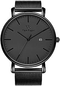BUREI Men's Watch All Black Minimalist Quartz Wristwatch Ultra Thin with Date and Milanese Mesh Band (Gold)