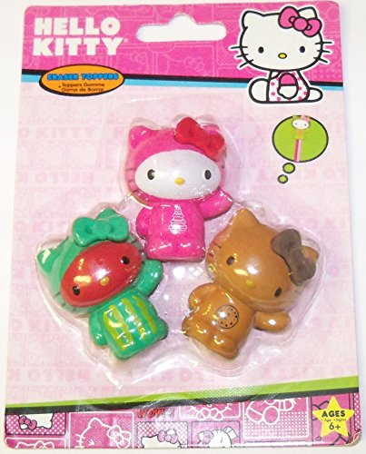 Hello Kitty 3 Eraser Toppers (Cookie, Cake Jumper, Watermelon Hello Kitties)
