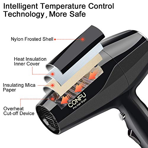 Professional Ionic Salon Hair Dryer CONFU 1875 Watt Negative Ion Fast Drying Blow Dryer AC Motor Low