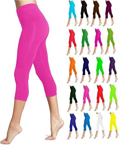 Lush Moda Seamless Capri Length Basic Cropped Leggings - Variety of Colors - Fuchsia OS (Moda Color)