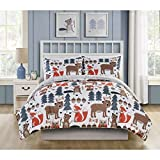 Adorable,Soft and Durable VCNY Home Little Campers Woodland Reversible Bedding Comforter Set,Whimsical Forest Friends on One Side,Taupe and White on the other,Full