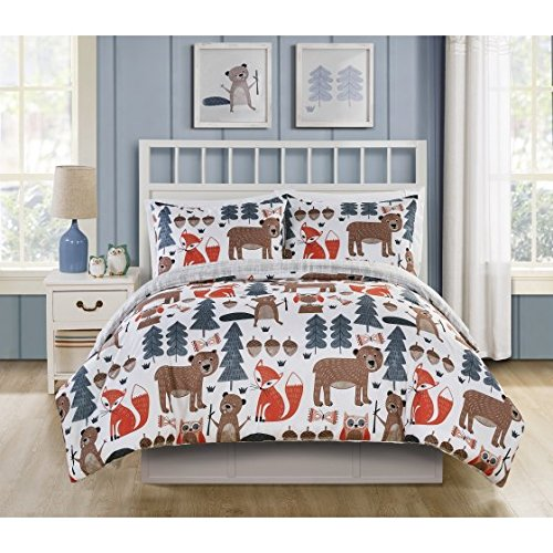 Adorable,Soft and Durable VCNY Home Little Campers Woodland Reversible Bedding Comforter Set,Whimsical Forest Friends on One Side,Taupe and White on the other,Full by Generic