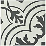 SomerTile S1FRC8TWVT  Fifties Ceramic Floor and Wall Tile, 7.75' x 7.75', White/Grey