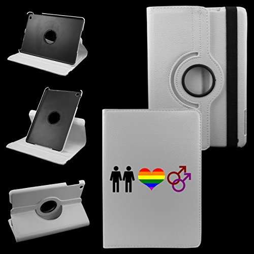 IPad Gay Lovers 2nd Generation, 3rd Generation, 4th Generation Cover Synthetic Leather Rotating Ipad Case: 360 Degrees Multi-angle Vertical and Horizontal Stand with Strap (White)