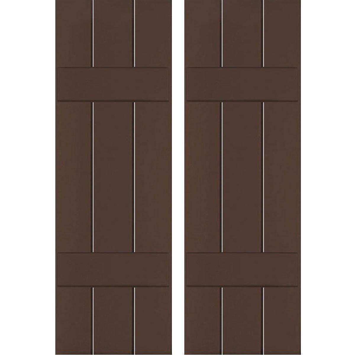 Ekena Millwork CWB12X071TBC Exterior Three Board Composite Wood Board-N-Batten Shutters with Installation Brackets (Per Pair), Tudor Brown, 12''W x 71''H by Ekena Millwork