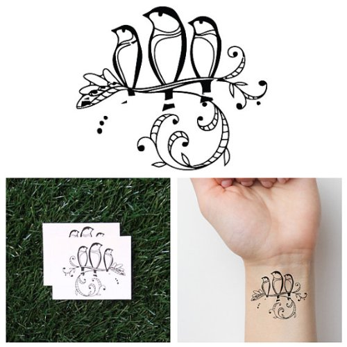 Tattify Animal Temporary Tattoo - Three Little Birds (Set of 2) - Other Styles Available - Fashionable Temporary Tattoos - Long Lasting and Waterproof (Best Bob Marley Tattoos)