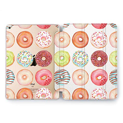Wonder Wild Donuts Pattern Print Case IPad 9.7 2017 A1822 A1823 2018 A1893 A1954 Air 2 A1566 A1567 6th Gen Clear Design Smart Hard Cover Texture Plastic Watercolor Great Gift Glaze Chocolate Food]()