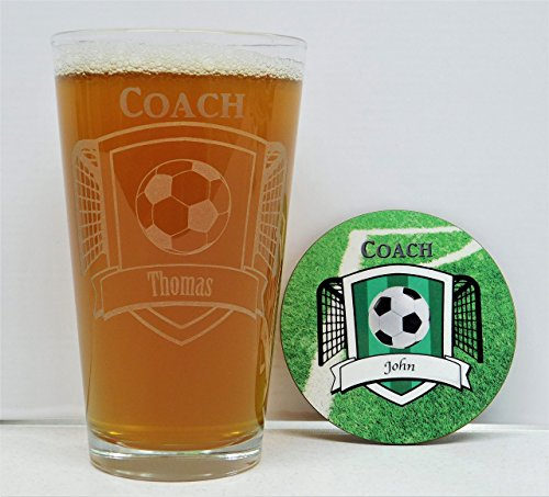 Soccer Coach, Soccer Coach gift, Soccer Coach Awards, Soccer Coach Glass and Coaster Gift Box Set, Soccer Team Awards, Soccer Team