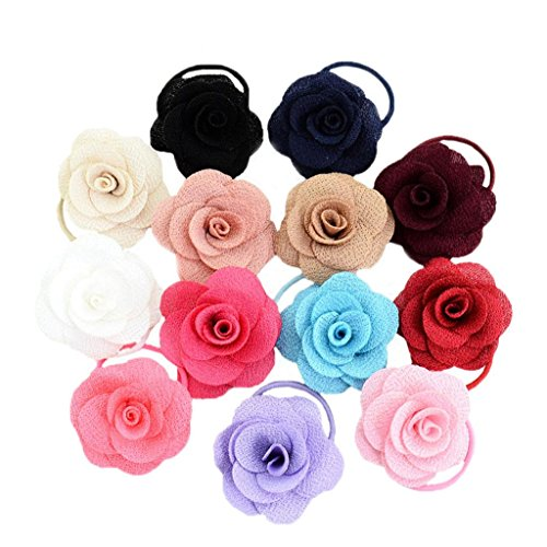 (ONcemoRe 13Pcs Baby Girl Rose Flower Elastic Hair Band Rope )