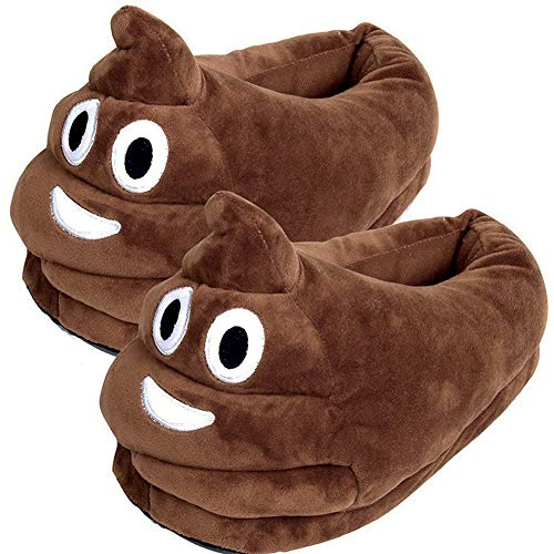YINGGG Unisex Cute Poop Emoji Slippers Plush Fluffy Comfortable House Shoes for Kids Women Men -