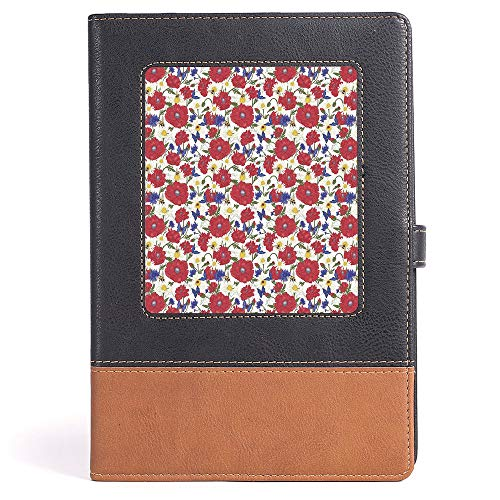 - Thick Notebook/Journal - Floral - Blooming Red Poppies Chamomile Ladybird and Daisies Bumblebee Bees and Butterflies Decorative - 100 Ruled Sheets - A5/6.04x8.58 in