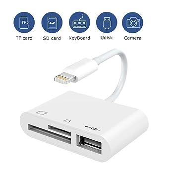Lector de Tarjetas SD 3 in 1 Kit de conexión de cámara, Memoria SD/TF Card Reader,Cámara de Juegos Trail Lector de Tarjetas SD, Cable Adaptador USB ...