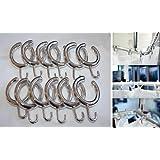 New Elegant Semi-Open Shower Curtain Hooks in chrome - Set of 14 (Chrome) by Beytug