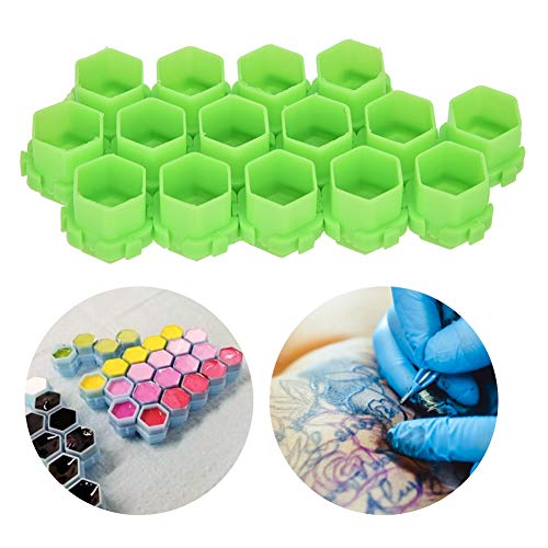 200Pcs Hot Sale multiple colour Tattoo Ink Cups,Honeycomb Shape Pigment Holder Cups,Permanent Makeup Supplies Small Pigment Container Tattoo Accessories Supplies of Body Art Ink (Green)