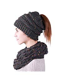 MissShorthair Confetti Ponytail Knitted Beanie Hat Scarf Set for Women(Skull Cap,Neck Warmer)