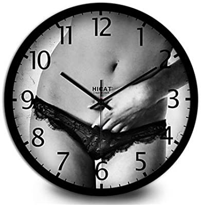zhENfu Creative Lace Underwear Bedroom Mute Quartz Wall Clock,30cm,Black Wall Clock