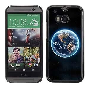 PC/Aluminum Funda Carcasa protectora para HTC One M8 Blue Planet Earth Continents View Space / JUSTGO PHONE PROTECTOR