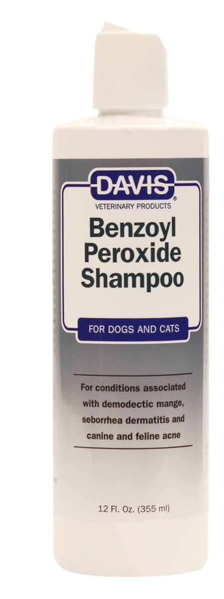 Davis Benzoyl Peroxide Medicated Dog & Cat Shampoo, 12 oz. – Dermatitis and Demodectic Mange