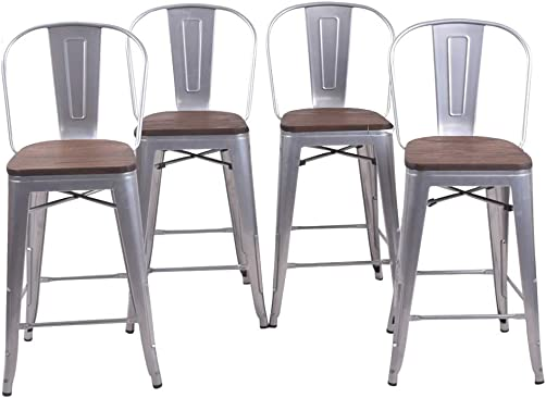 24 Inch High Back Industrial Metal Bar Stool Kitchen Counter Bar Stools Set of 4 24 inch, High Back Silver Wooden Top