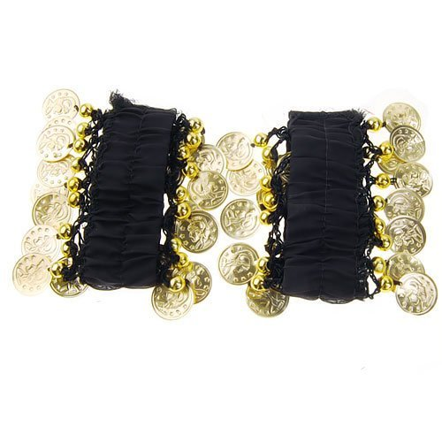 Beautiful Bead Women's Exotic Chiffon Bangle Bracelet for Indian Belly Dance with Gold Color Metal Pieces Black