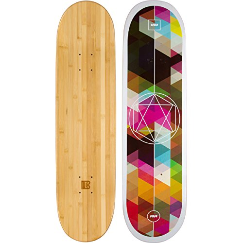 Bamboo Skateboards Geometricity Graphic Skateboard Deck with a 6 Ply Bamboo and Maple Hybrid Build (Bamboo Skate Board)