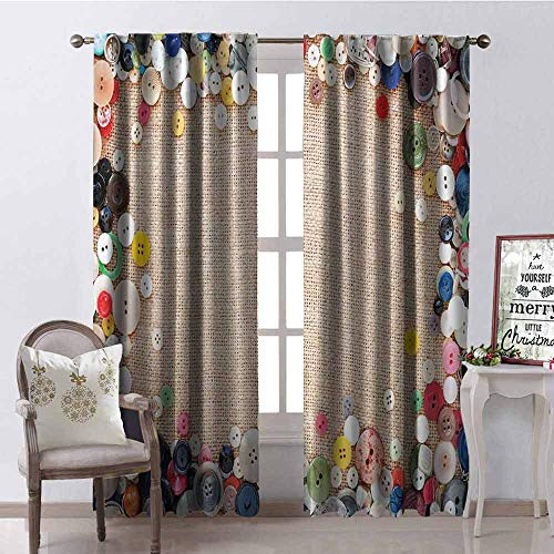 GloriaJohnson Vintage Shading Insulated Curtain Buttons Collection Fabric Texture Canvas Frame Sewing Needlecraft Contemporary Picture Soundproof Shade W42 x L84 Inch Light Brown