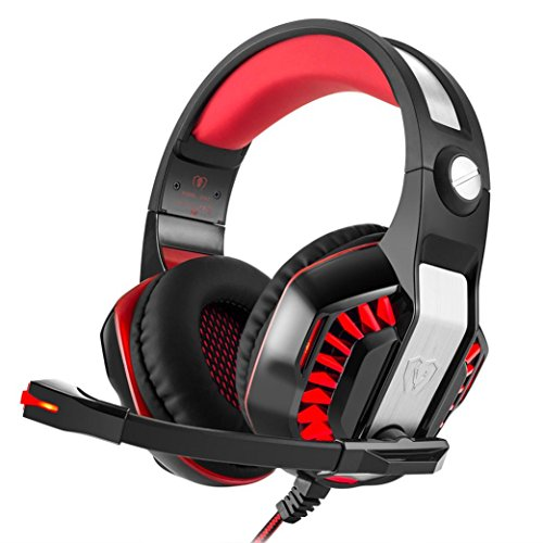 Price comparison product image Boofab Stereo Gaming Headset for Xbox one PS4 PC,  Surround Sound Over-Ear Headphones with Noise Cancelling Mic,  LED Lights,  Volume Control for Laptop,  Mac,  iPad,  Nintendo Switch (Red)