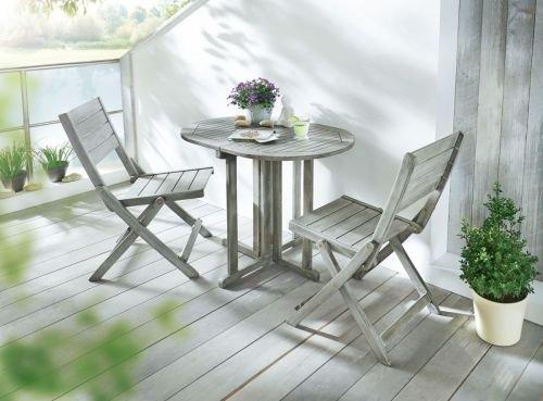 Kasandria® Gartenmöbel-Set 3-tlg Husum Grau | Balkonmöbel | Tisch und Stühle | schöner wohnen
