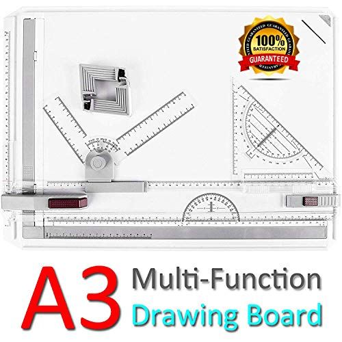 - ONDY Drafting Board Portable A3 Drawing Board Multi-Function Drafting Table Set, Architectural Technical Graphic Sketch Set with Set Square, Clamps, Protractor, Anti Slip Support Legs, Sliding Ruler