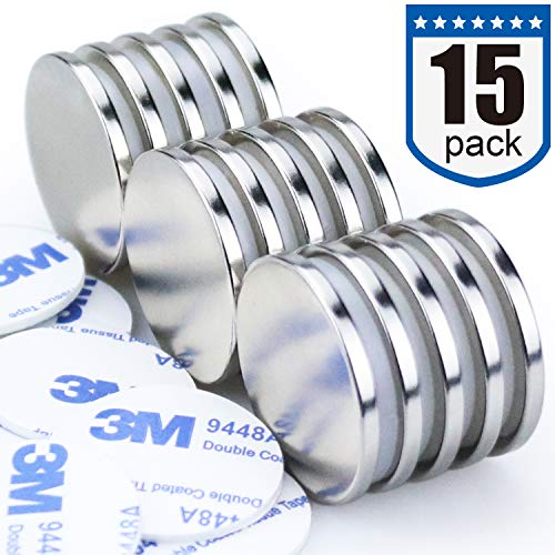"""DIYMAG Powerful Neodymium Disc Magnets, Strong, Permanent, Rare Earth Magnets. Fridge, DIY, Building, Scientific, Craft, and Office Magnets - 1.26""""D x 1/8""""H, Pack of 15"""