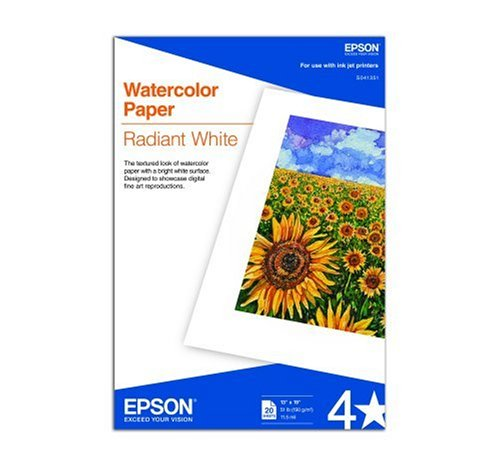 19 Printing (Epson Watercolor Paper Radiant, White, 13 x 19 Inches, 20 Sheets)