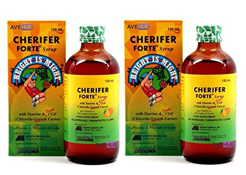 X-factor System (2 CHERIFER Forte Syrup with Taurine & Double Chlorella Growth Factor, Vitamins A, B-Complex & Lysine 120mL (2 x 120mL))