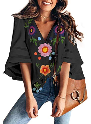 BLENCOT Women's Ladies Sexy V Neck Floral Short Bell Sleeve Chiffon Blouses Casual Loose Fit T Shirt Tops Black X-Large