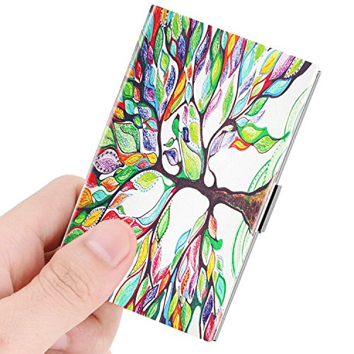 Business Card Holder, Fintie Premium Vegan Leather Coated Stainless Steel Professional Slim Name Card Case Organizer for Men & Women, Love Tree