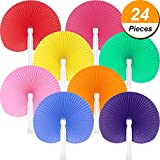 Pangda 24 Pieces Round Folding Handheld Paper Fans Accordion Fans Assortment for Party Wedding Favor Birthday Supplies (Multicolor)