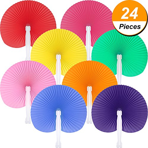 Pangda 24 Pieces Round Folding Handheld Paper Fans Accordion Fans Assortment for Party Wedding Favor Birthday Supplies (Multicolor) by Pangda