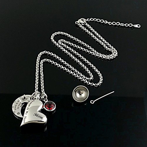 YOUFENG Urn Necklaces for Ashes I Love You to the Moon and Back for Mom Cremation Urn Locket Birthstone Jewelry (July urn necklace) by YOUFENG (Image #4)