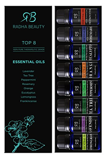 Large Product Image of Radha Beauty Aromatherapy Top 8 Essential Oils 100% Pure & Therapeutic grade - Basic Sampler Gift Set & Kit (Lavender, Tea Tree, Eucalyptus, Lemongrass, Orange, Peppermint, Frankincense and Rosemary)