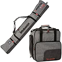 """BRUBAKER Combo Ski Boot Bag and Ski Bag for 1 Pair of Ski, Poles, Boots, Helmet, Gear and Apparel - Available in (170 cm) 66 7/8"""" or (190 cm) 74 3/4"""" - Gray"""