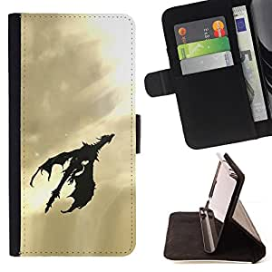 DEVIL CASE - FOR Sony Xperia Z1 L39 - Dragon Flying Art Sky Sunshine Light Black - Style PU Leather Case Wallet Flip Stand Flap Closure Cover