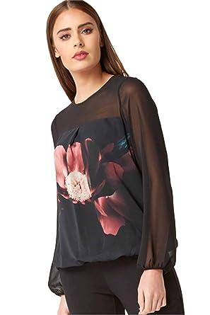 4c64bb55ece2c Roman Originals Women s Floral Print Chiffon Yoke Top - Ladies Embellished  Smart Party Sparkle Blouson Bubble