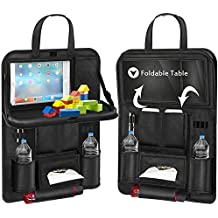 Back Seat Car Organizer, Car Organizer for Kids Toy Bottles Storage Foldable Dining Table Clear Tablet Holder Family Road Trip Accessories (Black 1PC)