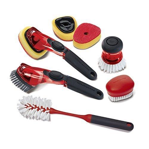 (KitchenAid 7 Piece Sink Brush Set (Red) )