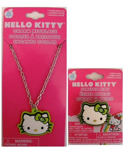 (Hello Kitty Necklace and Ring- Green Outline Face Shape )