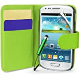 Supergets® Samsung Galaxy S3 mini I8190 Green Side Flip Wallet PU Leather Case Covers, Screen Protector and Mini Stylus